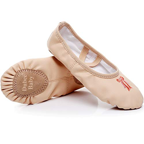 DubeeBaby Girls Leather Ballet Shoes Slippers Split Sole Flats for Toddlers Classic Nude/Bowknot Foot Length  6.69 inch-Little Kid 11M