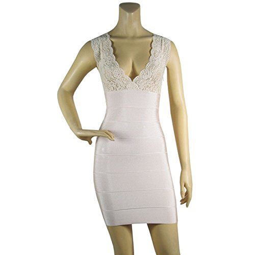 HLBCBG - Vestido - Sin mangas - para mujer Beige