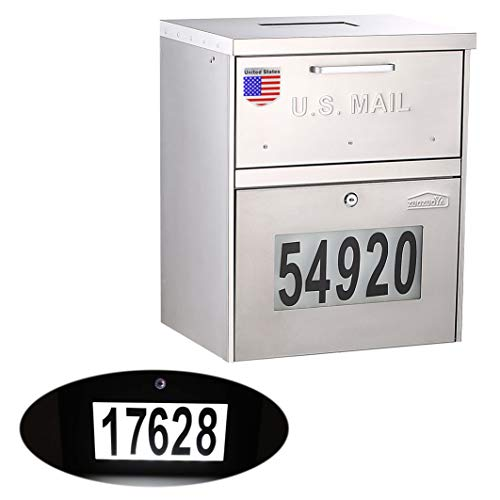 Post-Mount Mailbox with Key - Solar House Numbers Light with Anti-Theft Plate Illuminated at Night - Large Capacity Waterproof Stainless Steel Locking Mail Box Outdoor with Address