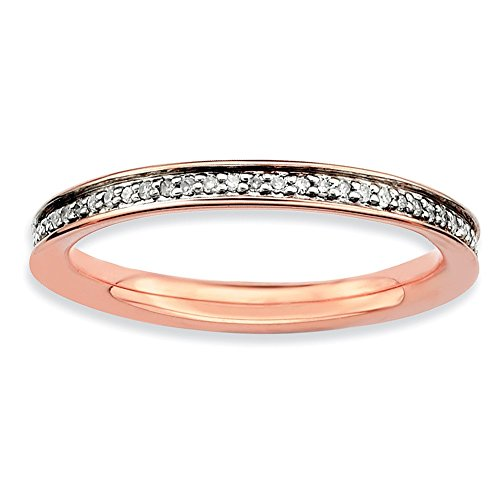 Sterling Silver Stackable Expressions & Diamonds Pink-plated Ring Size 9 by Jewels By Lux