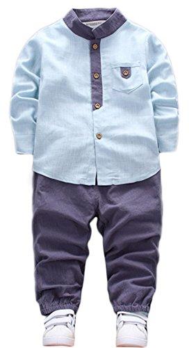 2PCS Baby Boys Girls Cartoon Clothing Set Long Sleeve Shirt and Pants size 18 Months (Light Blue) (Kids Blue Clothing Infant)