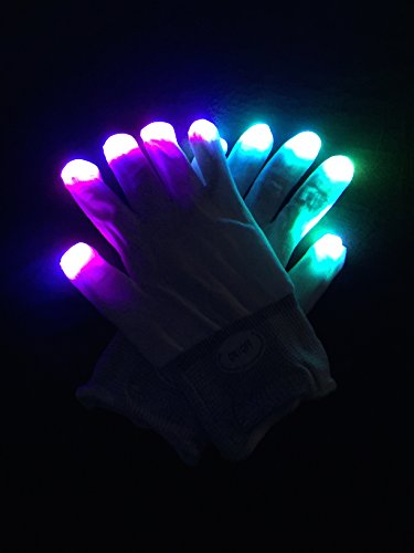 WDCS LED Gloves Party Light Show Gloves- 6 Light Flashing Modes. The Best Gloving & Lightshow Dancing Gloves for Clubbing, Rave, Birthday, EDM, Disco, and Dubstep Party (White 6 (Light Show Halloween Costume)