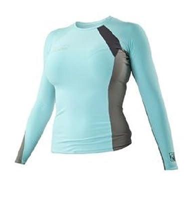 Body Glove Women's Performance Long Arm Rashguard, Blue/Gray, X-Large
