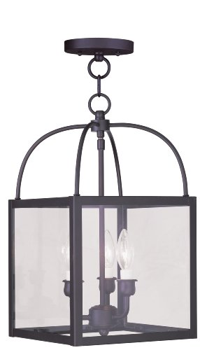 - Livex Lighting 4037-07 Milford 3-Light Convertible Hanging Lantern/Ceiling Mount, Bronze