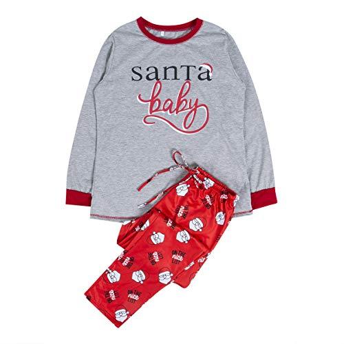 Family Christmas Pajamas Set Santa Long Sleeve Letter Printed Sleepwear Nightwear Parent Child Family Equipment Matching -