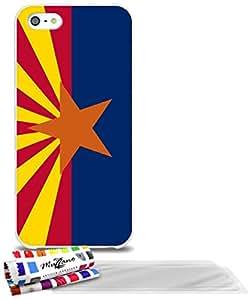 """Carcasa Flexible Ultra-Slim APPLE IPHONE 5S / IPHONE SE de exclusivo motivo [Bandera Arizona] [Blanca] de MUZZANO  + 3 Pelliculas de Pantalla """"UltraClear"""" + ESTILETE y PAÑO MUZZANO REGALADOS - La Protección Antigolpes ULTIMA, ELEGANTE Y DURADERA para su APPLE IPHONE 5S / IPHONE SE"""