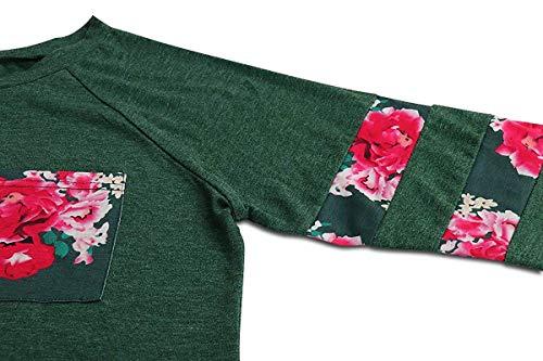 Vert encolure shirt T pour Couleur fleurs XL Zhrui avec longues manches et manches femmes ronde Vert à Taille de xpqwdFUF8