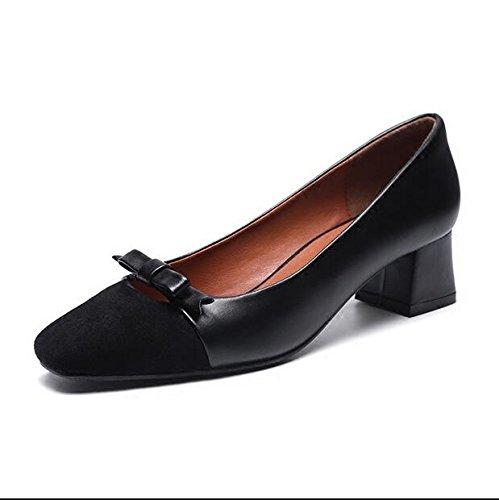 Xue Qiqi Court Schuhe Quadratfußschmetterling Stellte die Fußschuhe Ein Ein Ein die mit Den Bequemen Schuhen Bequem Dick mit Den Arbeitsschuhen 39 Schwarz Dick Sind 3a9bda