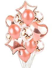 مجموعة بالونات هواء وهيليوم لامعة 14 في 1 بلون ذهبي وردي على شكل نجمة وقلب لتزيين حفلات الزفاف وأعياد الميلاد ولوازم حفلات الأطفال