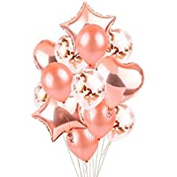 14 in 1 /set Rose Gold Star Heart Foil Balloons Air Wedding Decoration Helium Balloon Happy Birthday Party Decoration…