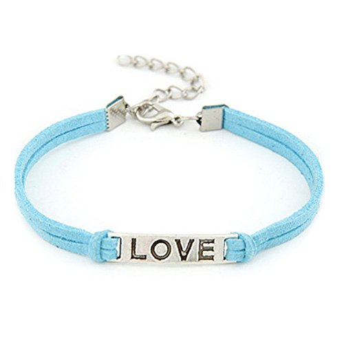 (WoCoo Simplicity Handmade Alloy Solid Color Rope Charm Weave Bracelet(Blue))