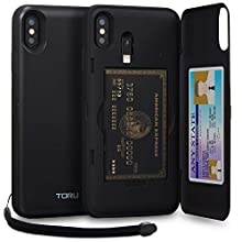 TORU CX PRO iPhone Xs Max Wallet Case Black with Hidden Credit Card Holder ID Slot Hard Cover, Strap, Mirror & Lightning Adapter for Apple iPhone Xs Max (2018) - Matte Black