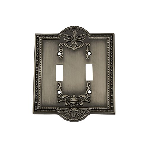 Antique Pewter 1 Toggle - Nostalgic Warehouse 719783 Meadows Switch Plate with Double Toggle, Antique Pewter