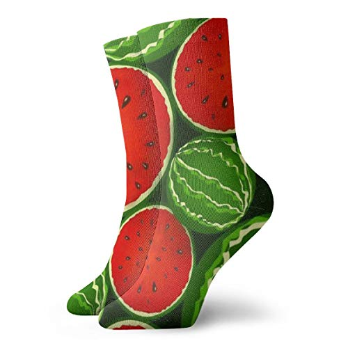 Womens Girls Funny Novelty Short Socks - Tropical Fruit Green Juicy Watermelon Cartoon Art Polyester Crew Socks - Summer Casual Cozy Dress Decor Socks for Daliy Travel]()