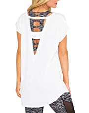 SOLO POP Women's Loose Tops Large V Back Cut Out Blouses Open Strap Workout Casual Shirt