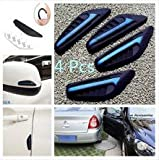SuPoo 4PCS Rearview Mirror Side Bumper Silicone Anti-rub Strip Door Edge Crash Bar Strips Black & Blue