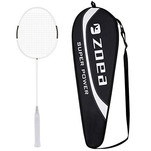 ZOEA High Tension String Badminton Rackets 100% Full Carbon Fiber Shaft Badminton Racquets Outdoor Indoor Badminton Racket Graphite Professional Racket Grip Racket Cover Bag for Women Men (White)