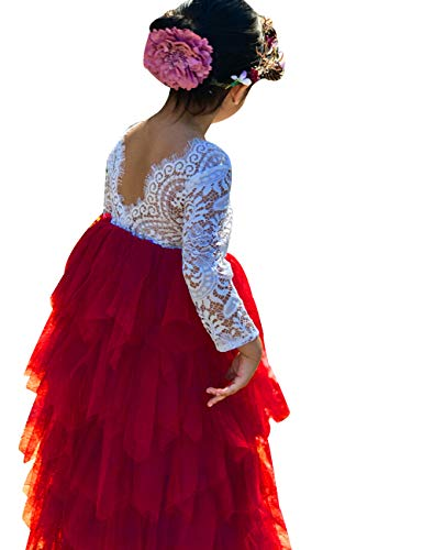 (Baby Toddle Girls Tutu Dress Short Sleeves Stripe Tulle Skirts Mini Dress (White red Long Sleeve,)