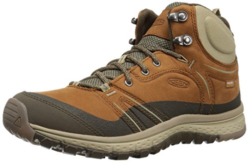 KEEN Women's Terradora Leather mid wp-w Hiking Shoe, Timber/Cornstalk, 6 M US