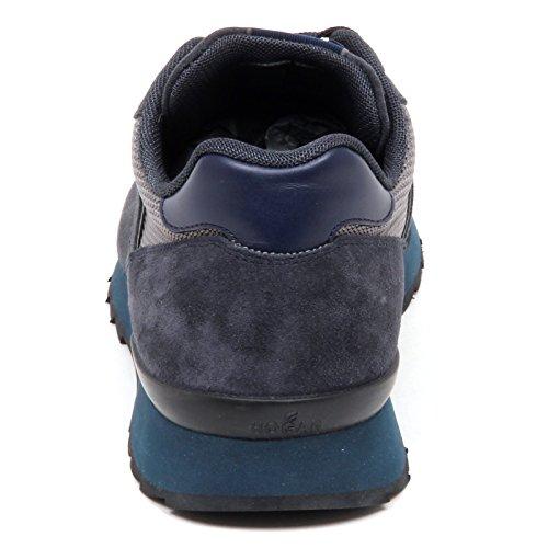 Hogan E4982 Sneaker Uomo Blu/Grigio R261 Scarpe Tissue/Suede Running Shoe Man Blu/Grigio