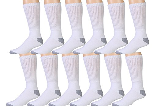 12 Pair Pack Of Mens Cotton Sport Crew Socks, Value Pack By WSD Brands by Wholesale Sock Deals