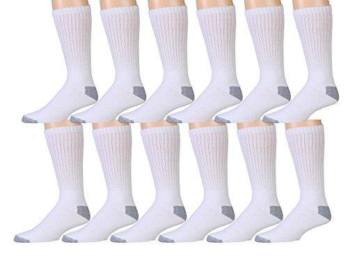 12 Pair Pack Of Mens Cotton Sport Crew Socks, Value Pack By WSD Brands - 8 Pair Value Pack