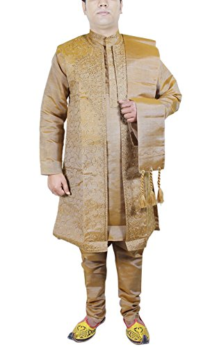Kurta Pajama Yellow 4-Pieces Set Art Silk Mens Bollywood ...