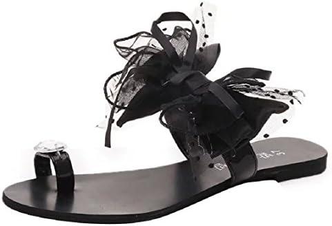 1043734b56986 Sunfei Summer Women Bow Tie Flower Flat Sandals Casual Fashion Flip Flops  Shoes