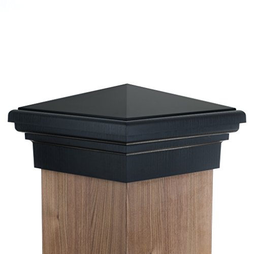 8x8 Post Cap | Black New England Pyramid Style Square Top for Outdoor Fences, Mailboxes & Decks, by Atlanta Post Caps