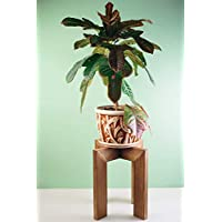 Large Wood Plant Pot Stand Indoor Rustic - Adjustable for pots from 6 to 14 Inches max - Midcentury Modern Wooden Floor Potted Planter Holder - Housewarming Gift - POT NOT INCLUDED