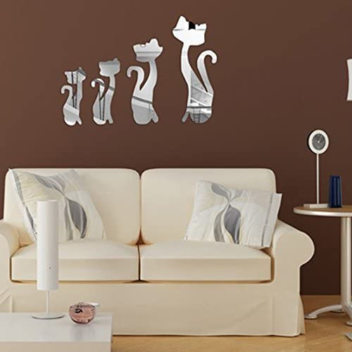 Walplus Lovely Cat Mirror Wall Sticker Mural Decals Art Room Home Decorations