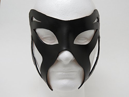 Classic Costume Black Leather Eye Mask Authentic Unisex Masquerade Half Mask Mardi Gras Prom Halloween Masquerade (Authentic Mardi Gras Masks)