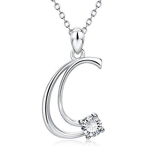 ef40c500bdd910 YFN Initial Necklace Sterling Silver Letter C Alphabet Pendant Necklace  Jewelry for Women Teen Girls