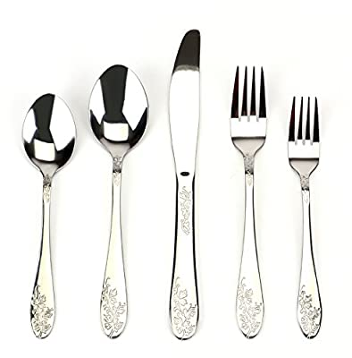 Bekith Silver Flower 40-Piece Stainless Steel Flatware Set, Service for 8