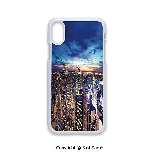 Fashion Printed Phone Case Compatible with iPhone X Black Edge Empire State and Skyscrapers of Midtown Manhattan New York Aerial View at Dusk 2D Print Hard Plastic Phone Case ()