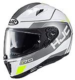 HJC Unisex Adult Full Face i i 70 Karon Motorcycle Helmet MC-10 White/Grey/Hi-Viz XX-Large