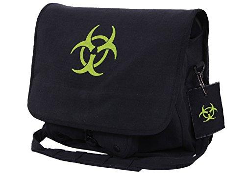 (Rothco Biohazard Zombie Vintage Shoulder Messenger Bag Black And Green)