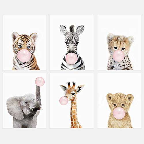 Safari Bubble Gum Animals 8x10 Prints - Set of 6 - Adorable Furry Baby Animal Portrait - Tiger Cub, Zebra, Lion Cub, Elephant, Giraffe, Cheetah - Nursery Decor Unframed Prints