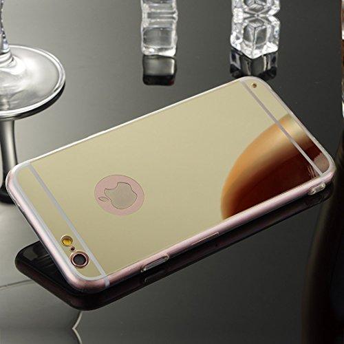 Meimeiwu TPU Spiegel Hülle Mirror Case Schutzhülle Silikon Case Schlank Handy Cover für Apple iPhone 6 6S - Gold