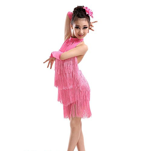 [ESHOO Girls Tassel Latin Salsa Dance Dress Sleeveless Halter Dance Costume 4-11 Year] (Halter Stretch Costumes)