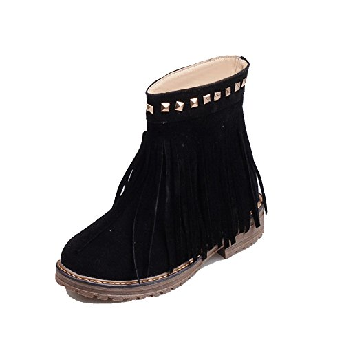 Heels Closed Toe Black WeiPoot Low Low Pull Round Women's Frosted with On Top Boots Rivet zxqwUanwv