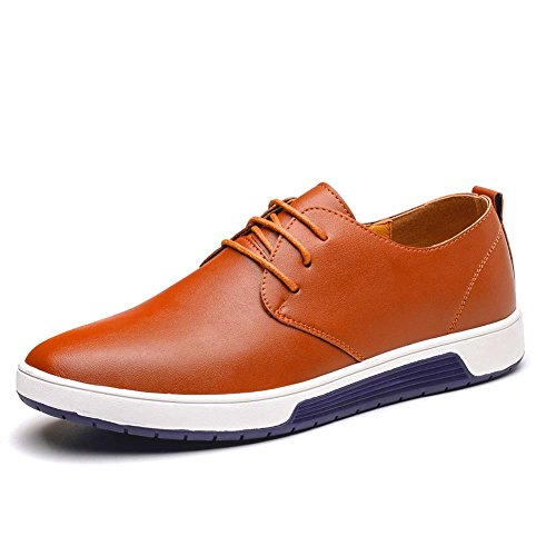 KONHILL Men's Casual Oxford Shoes Breathable Flat Fashion Lace-up Dress Shoes, Brown, 45 by KONHILL (Image #1)