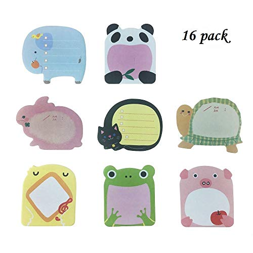 - Sticky Notes- Zoo Cute Animals Self-Stick Removable Sticky Notes -16 Pads per Pack - 20 Sheets per Pad - per Pack 8 Animals Inside-80mm x 54 mm (16pack)