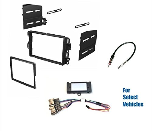 Premium Car Stereo Dash Kit, Wire Harness Chime 12v ACC Adapter, and Antenna Adapter to Install a Dbl Din Aftermarket Radio for some GM/Chevrolet Vehicles with + without Bose - See Full Details Below