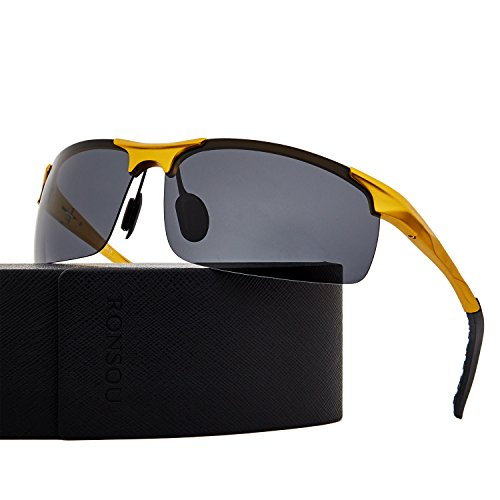 Ronsou Men Sport Al-Mg Polarized Sunglasses Unbreakable For Driving Cycling Fishing Golf gold frame/gray - Sports Sunglases