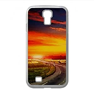 Highway At Sunset Watercolor style Cover Samsung Galaxy S4 I9500 Case (Summer Watercolor style Cover Samsung Galaxy S4 I9500 Case)