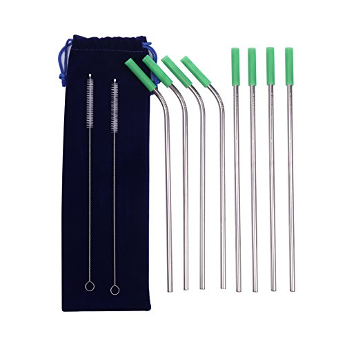 FDA Approved Stainless Steel Straws - Set of 8 Long Metal Drinking Straw - 4 Straight 4 Bent Reusable Straws for 20/30 oz Tumblers - Metal Straws with Silicone Tip, Cleaning Brush and Case - 11.8 inch