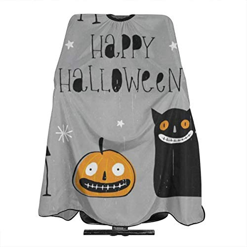 Freaky Black Cat Angry Pumpkin Spider Clown Barber Salon Cape Apron Makeup Comb Out Cape Bib, Salon Hair Dye, Shampoo, Chemical Waterproof Gown Cloth for Adult/Women/Men]()