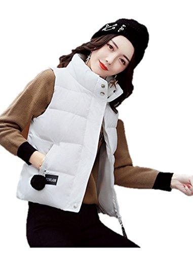 ズボンパトロール世界記録のギネスブックレディース ダウン ベスト フード 付き 中綿 可愛い 防寒 防風 袖なし アウター あったか K12681 (L, ホワイト)