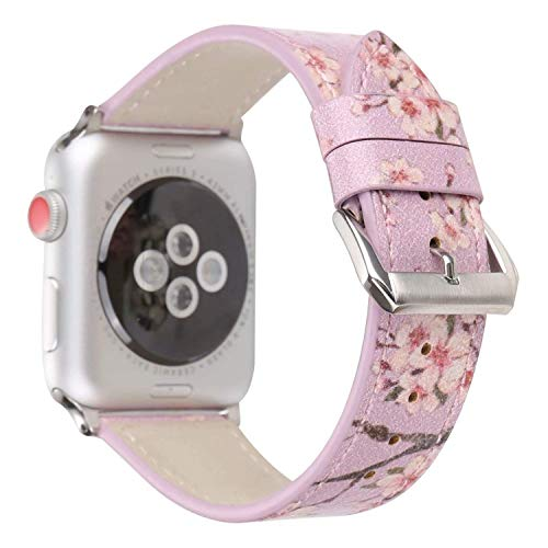 Angeland Chinoiserie Plum Blossom Flower Design Women Watchband Floral Leather Replacement Band Compatible with Apple Watch 38mm Series 3, Series 2, Series 1 - Purple ()